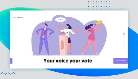 Political Meeting with Candidate in Speech Website Landing Page. Pre-election Campaign, Voters with Megaphone Promotion and Advertising of Candidate Web Page Banner. Cartoon Flat Vector Illustration