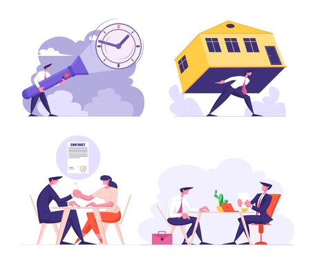 Man Carry Huge House on Back Struggling with Overwhelming Mortgage, Banking Credit or Expensive Rent. Hr Manager and Applicant at Job Interview. Deal Contract, Time Cartoon Flat Vector Illustration