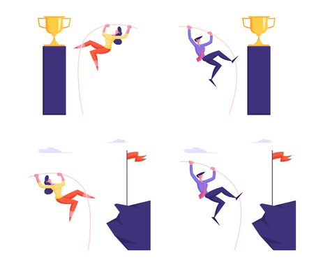 Goal Achievement, Success Challenge and Leadership Set with Male and Female Businessperson Characters Business Competition Pole Jumping to Top with Goblet and Flag. Cartoon Flat Vector Illustration