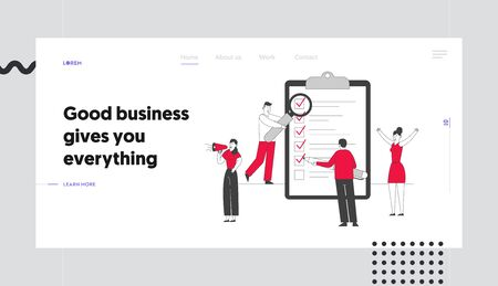 Scheduling Planning and Creative Process Website Landing Page. Business People Stand at Huge Clipboard with Checklist Filling Check Boxes Web Page Banner. Cartoon Flat Vector Illustration, Line Art