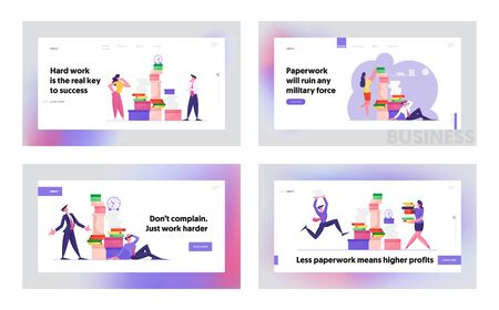 Busy Office People Company Employees Overload at Work Website Landing Page Set. Business People Working with Heap of Paper Documents. Managers on Job Web Page Banner. Cartoon Flat Vector Illustration 向量圖像