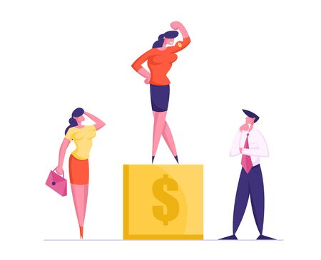 Thoughtful Businesspeople Standing at Golden Pedestal with Dollar Sign Watch on Business Woman Stand on Top Demonstrate Muscles and Power to Colleagues. Career Success Cartoon Flat Vector Illustration