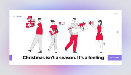 Happy People Giving Presents to Each Other Website Landing Page. Men Women Walking with Gift Boxes Greeting Family and Friends on Christmas Web Page Banner. Cartoon Flat Vector Illustration, Line Art