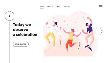 Happy Young People Having Party Website Landing Page. Joyful Characters Dance and Jumping with Hands Up in Room with Confetti. Holidays Celebration Web Page Banner. Cartoon Flat Vector Illustration 向量圖像