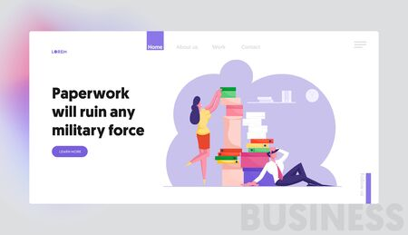 Accounting Bureaucracy, Deadline Website Landing Page. Business People Office Employees with Huge Heap of Paper Documents Working in Very Busy Day Web Page Banner. Cartoon Flat Vector Illustration