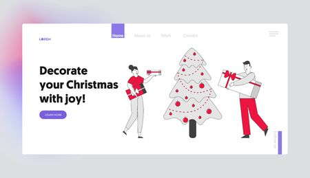 Corporate or Home Christmas Party Celebration Website Landing Page. Happy People Holding Gift Boxes Giving Presents on New Year Holidays Web Page Banner. Cartoon Flat Vector Illustration, Line Art 向量圖像