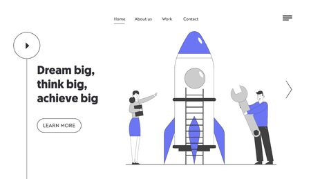 Businesspeople Launching Business Project Startup Website Landing Page. Successful Financial Idea. Creative Team Launch Rocket Start Up Web Page Banner. Cartoon Flat Vector Illustration, Line Art