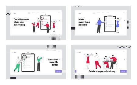 Planning, Victory Website Landing Page Set. Businesspeople Filling Checklist for Successful Completion of Business Tasks, Celebrate Success Web Page Banner. Cartoon Flat Vector Illustration, Line Art Illustration