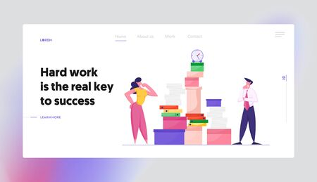 Employees Deadline Stress Website Landing Page. Businesswoman and Businessman Looking on Huge Pile of Paper Documents and Folders with Clock on Top Web Page Banner. Cartoon Flat Vector Illustration 向量圖像