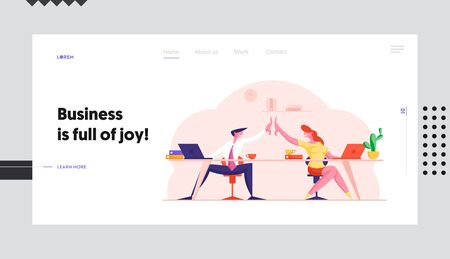 Office Team Triumph after Contract Signing Website Landing Page. Colleagues Sitting at Desk Give Highfive to Each Other after Successful Business Deal Web Page Banner. Cartoon Flat Vector Illustration