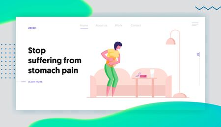 Diarrhea or Constipation Disease Website Landing Page. Woman Having Abdominal Pain in Stomach Gastrointestinal Indigestion Symptom Going to Take Pills Web Page Banner. Cartoon Flat Vector Illustration