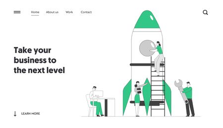 Creative Team Rocket Launch Website Landing Page. Businesspeople Launching Business Project Startup. Business Strategy Successful Realization Web Page Banner Cartoon Flat Vector Illustration, Line Art