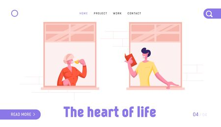 Neighborhood Website Landing Page. Facade of Building with Neighbors Standing at Windows. Hobby, Household Activities. Man Reading Woman Drinking Tea Web Page Banner. Cartoon Flat Vector Illustration 向量圖像
