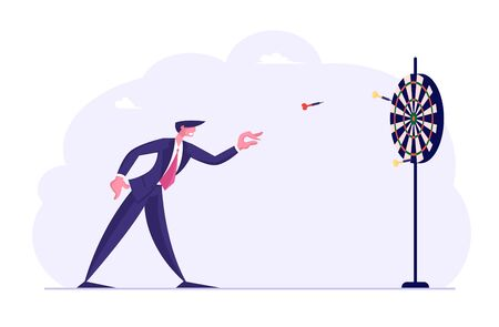 Tenacity in Business Strategy, Goal Setting Concept. Businessman Throwing Darts to Target Center. Aims Achievement Mission, Opportunity and Challenge. Task Solution Cartoon Flat Vector Illustration