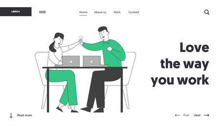 Successful Business Deal, Contract Signing Website Landing Page. Colleagues Sit at Desk Giving Highfive to Each Other after Goal Achievement Web Page Banner. Cartoon Flat Vector Illustration, Line Art