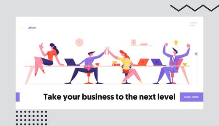 Teamwork Group Rejoice and Giving Highfive Website Landing Page. Joyful Managers Team, Businessmen and Businesswomen Successful Deal Contract Signing Web Page Banner. Cartoon Flat Vector Illustration