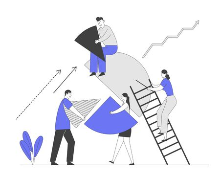 Business People Teamwork Cooperation and Partnership Concept. Businesspeople Characters Set Up Huge Pie Chart Pieces in Whole Construction. Team Work Metaphor Cartoon Flat Vector Illustration Line Art