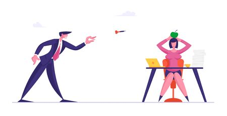 Businessman Throw Darts to Apple Lying on Head of Businesswoman Sitting at Office Desk. Bulling, Aggression or Conflict Situation at Work between Colleagues, Stress. Cartoon Flat Vector Illustration