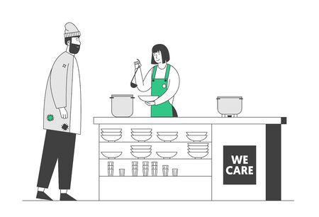 Volunteer Serving Food to Homeless People. Young Woman in Apron Pouring Warm Food to Plate for Beggar Man Standing at Desk. Night Shelter Emergency Housing. Cartoon Flat Vector Illustration, Line Art 向量圖像