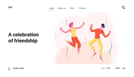 Holiday Celebration Website Landing Page. Happy Friends Celebrating Party. People Dancing and Jumping with Hands Up during Festive Birthday Event Web Page Banner. Cartoon Flat Vector Illustration