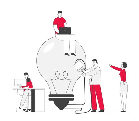 Business Team Search Insight for Project Development. Teamworking and Searching Idea Concept. People Stand at Huge Turned Off Light Bulb Holding Plug. Cartoon Flat Vector Illustration, Line Art