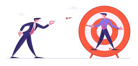 Unfair Fight, Bulling Concept. Businessman Throw Darts Directly to Business Man Nailed to Huge Target. Manager Characters Combat for Leadership, Competition Challenge Cartoon Flat Vector Illustration 向量圖像