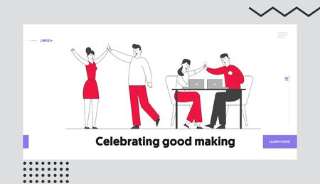 Successful Project Deal, Victory Website Landing Page. Business Colleagues Giving Highfive in Office Rejoice for Good Job or Contract Signing Web Page Banner Cartoon Flat Vector Illustration, Line Art 向量圖像