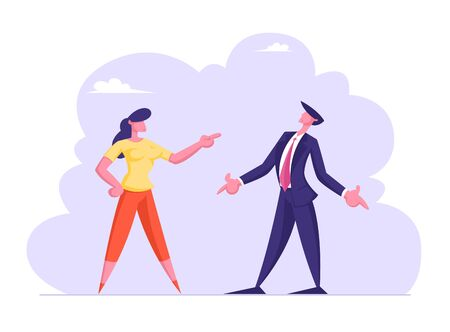 Business Man and Woman Yelling on Each Other Having Quarrel and Fight. Businesswoman and Businessman Disagreement, Work Conflict Between Colleagues or Office Employees Cartoon Flat Vector Illustration