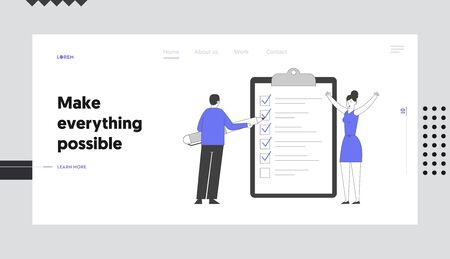 Searching Solution and Thinking New Idea Website Landing Page. Businessman Put Marks into Check Boxes Filling Checklist on Huge Clipboard Web Page Banner. Cartoon Flat Vector Illustration, Line Art