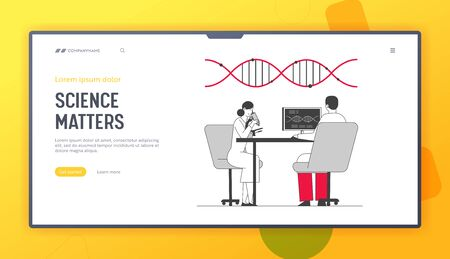 Dna Engineering and Genetics Science Website Landing Page. Scientists Conducting Scientific Experiment in Laboratory with Microscope and Pc Web Page Banner. Cartoon Flat Vector Illustration, Line Art