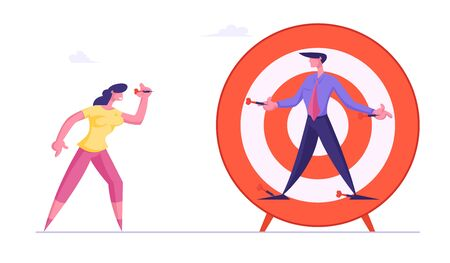 Businesswoman Aiming with Darts to Businessman Nailed to Huge Target. Unfair Fight Bulling Businesspeople Fighting for Leadership Competition Challenge Dirty Trick Cartoon Flat Vector Illustration 일러스트