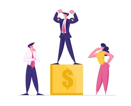 Smiling Business Man Stand on Golden Winners Pedestal Demonstrate Power and Muscles with Dollar Signs. Worker with Most Great Financial Results, Best Employee Manager Cartoon Flat Vector Illustration