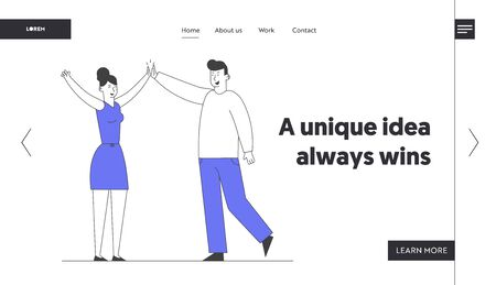 Business Colleagues Giving Highfive in Office Website Landing Page. Man and Woman Beating Hands Rejoice for Good Job, Successful Project Web Page Banner. Cartoon Flat Vector Illustration, Line Art Stock Illustratie