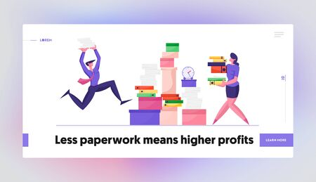 Accounting Bureaucracy Manager at Workplace Website Landing Page. Businessman and Businesswoman Carry Huge Steak of Documents at Very Busy Office Day Web Page Banner. Cartoon Flat Vector Illustration