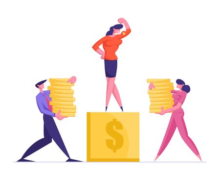 Businessman and Businesswoman Carry Piles of Golden Coins to Pedestal with Business Woman Standing on Top Demonstrate Muscles and Power. Finance and Career Success. Cartoon Flat Vector Illustration