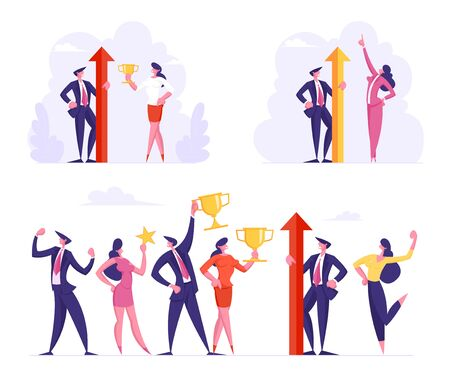 Victory and Business Success Set. Team of Male and Female Office Characters in Formal Wear Posing with Winners Trophies Celebrating Successful Project. Teamwork Cartoon Flat Vector Illustration