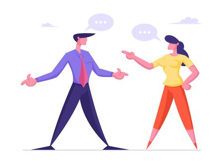 Business Woman and Man Arguing and Having Quarrel with Speech Bubbles. Business Dispute, Disagreement Competition Challenge Leadership Concept with Characters Fighting Cartoon Flat Vector Illustration