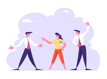 Business Men and Businesswoman Enemies or Opponents Arguing and Staring Each Other. Quarrel or Work Conflict Between Colleagues or Office Workers. Fight for Leadership Cartoon Flat Vector Illustration 向量圖像