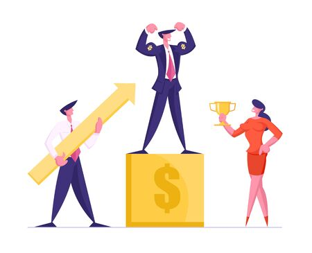 Business Competition Winner on Pedestal Demonstrate Muscles and Power . Businesswoman Holding Golden Goblet and Businessman with Huge Arrow Goal Achievement Success. Cartoon Flat Vector Illustration
