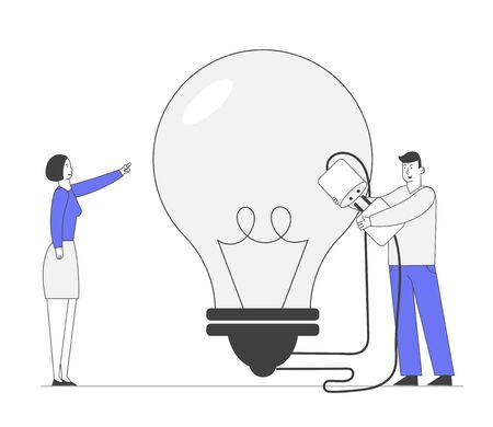 Business Team Work on Project Searching for Creative Idea. Woman Pointing Huge Light Bulb, Man Switch on Plug. Financial Management, Brainstorming Research Cartoon Flat Vector Illustration, Line Art
