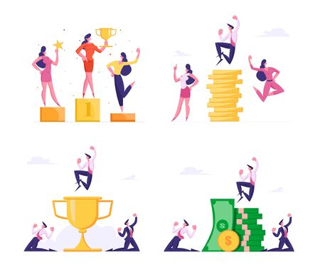 Businessmen Saving and Increasing Capital Set. Successful Business People Rejoice and Crying Yeah at Huge Stack of Gold Coins. Financial Profit Salary Money Wealth. Cartoon Flat Vector Illustration
