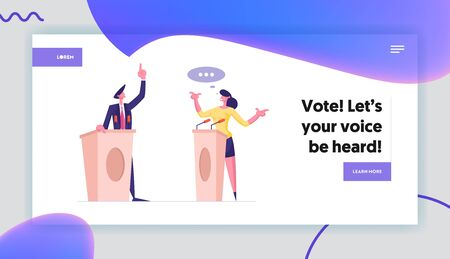Political Discussion and Debates Website Landing Page. Speakers Stand on Tribunes with Microphones Speaking. Presidential Election Candidate Speech Web Page Banner. Cartoon Flat Vector Illustration 向量圖像