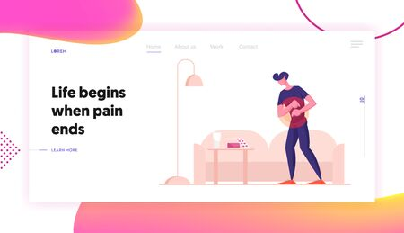Man Feel Pain in Stomach Website Landing Page. Food Poisoning, Digestive Tract Indigestion Stomachache Pain Abdominal Ache or Spasm Health Care Concept Web Page Banner Cartoon Flat Vector Illustration