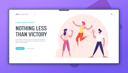 Excited Characters Having Fun Website Landing Page. Happy Friends Positive Emotions Expression Gesturing Ok Sign, Showing Thumb Up and Yelling Yes. . Web Page Banner. Cartoon Flat Vector Illustration 向量圖像
