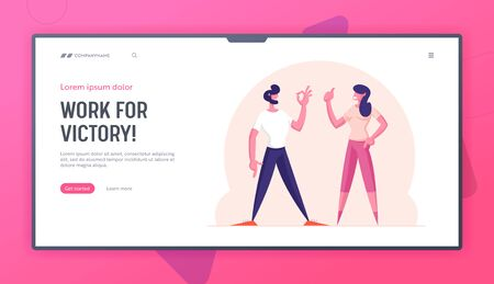 Communication and Agreement Website Landing Page. Satisfied Man and Woman Gesturing Ok Sign and Thumb Up. Businesspeople Celebrate Successful Good Deal Web Page Banner Cartoon Flat Vector Illustration