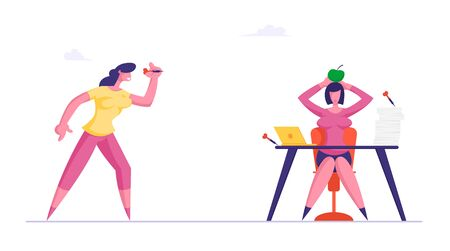Businesswoman Throw Darts to Apple Lying on Head of Business Woman Sitting at Office Desk. Dirty Tricks and Unfair Fight with Sneaky Colleague Concept. Office Life Cartoon Flat Vector Illustration Vectores