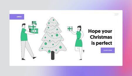 Happy Couple Celebrating New Year or Xmas Party Website Landing Page. Man and Woman Changing Presents Giving Gifts on Event at Christmas Tree Web Page Banner Cartoon Flat Vector Illustration, Line Art