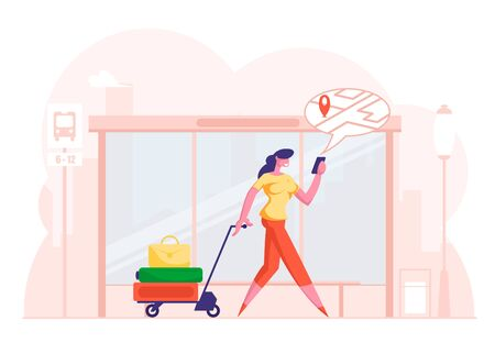 Woman Pulling Trolley with Luggage Pass By Bus Stop Watching on Mobile Phone Screen with Map and Location Marker Geo Tag Gps Pointer. Online Navigation App Concept. Cartoon Flat Vector Illustration