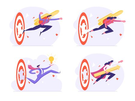 Set of Businesspeople Reach New Level of Development and Career Boost. Happy Business Man and Woman with Jetpack on Back Punch Through Huge Target to Goal Achievement. Cartoon Flat Vector Illustration