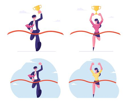 Business People Holding Golden Goblet and Waving Hand Take Part in Race Run to Success. Leadership and Competition Concept. Worker Crossing Finish Line with Red Ribbon Cartoon Flat Vector Illustration Ilustração